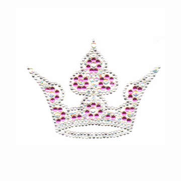 S4132-SMALL CROWN FUCHSIA NAILHEAD AB CRYSTAL, & CLEAR STONE