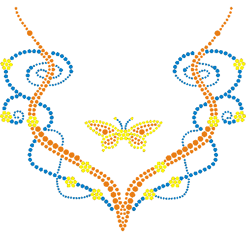 S4421<br>Butterfly, Vines & Flowers V-Neck