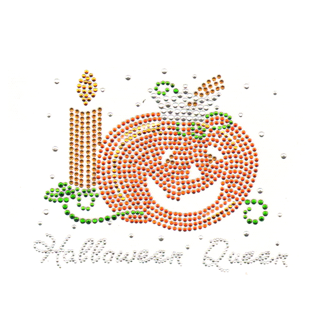 S4640-HALLOWEEN QUEEN WIHT PUMPKIN AND CANDLE CRYSTAL, GREEN, TO