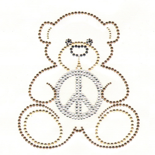 S4815-EMBRACE PEACE, BROWN TEDDY BEAR HOLDING PEACE SIGN, KIDS,