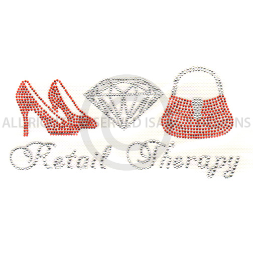 S4890-RETAIL THERAPY W/ PURSE, HEALS & DIAMOND, FASHION, PHRASES
