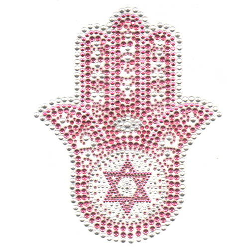 S5078m Pink Meduim Hamsa With Star Of David Symbols Religion
