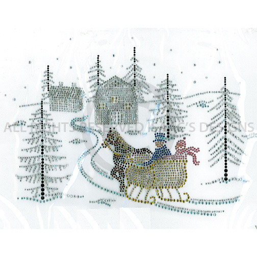 S5672- WINTER SCENE WITH HORSE AND SLEIGH