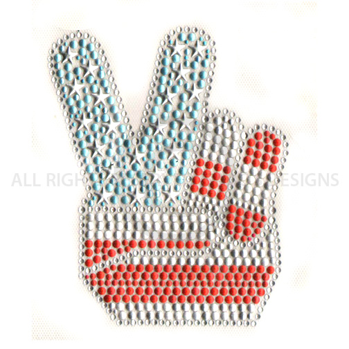 S5756-USA  - RED SILVER BLUE PEACE SIGH HAND, SYMBOLS