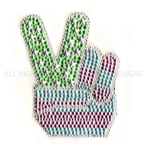 S5756-PAL  - PINK AND GREEN PEACE SIGN HAND SYMBOL, KIDS