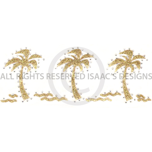S6124L-THREE PALM TREES GOLD GLITTER, PALM TREE