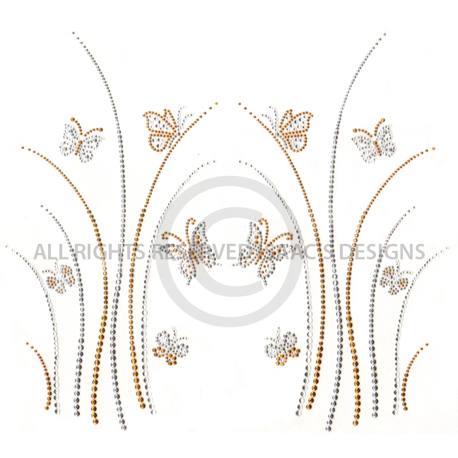 S6391- GRASS WITH BUTTERFLIES GOLD AND SILVER, BUTTERFLY, ANIMAL