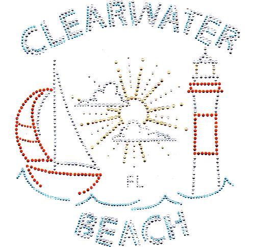 S6768-CB<br>Clearwater Beach Sailboat & Lighthouse Scene