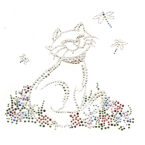 S1364LA-CLR -LARGE CAT W/DRAGONFLIES, CATS,