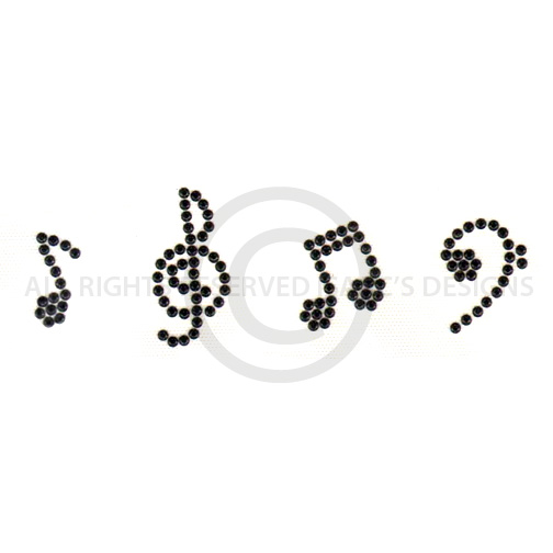 S7132B-  BLACK MUSIC NOTES