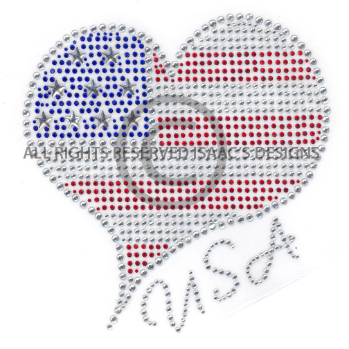 S7134-AMERICAN USA FLAG HEART, HOILDAYS, PATRIOTIC, 4TH OF JULY
