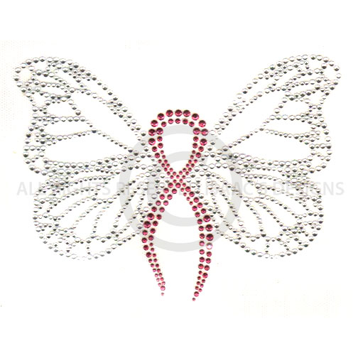 S7189-PINK  - PINK STUD RIBBON BUTTERFLY, CANCER, SUPPORT