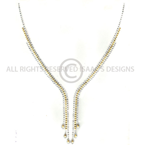 S8422-3 ROW CRYSTAL AND GOLD V-NECKLINE, NECKLINES