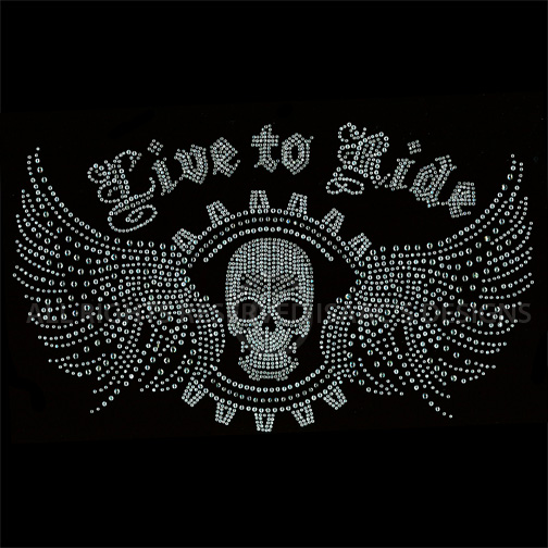 S8482-LIVE TO RIDE W/SKULL AND WINGS, BIKERS