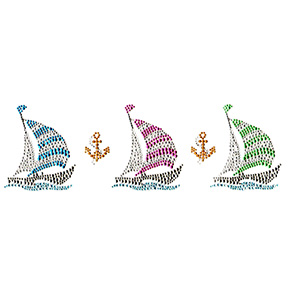 S8978  - THREE SAILBOATS WITH ANCHORS