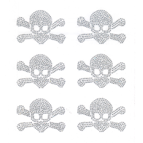 S9006CLR  - EXTRA SMALL SKULL AND CROSSBONE, SOLD BY SHEET 6PCS