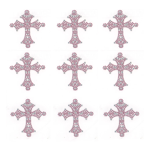 S9023-SMALL PINK CRYSTAL CROSS, SOLD BY SHEET 9PCS