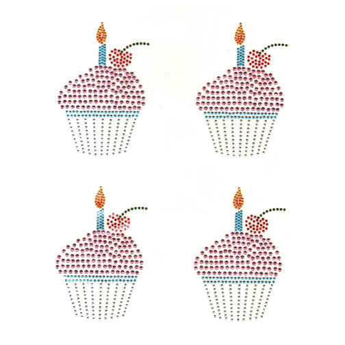 S9113-CUPCAKE W/CANDLE, KIDS, SOLD BY SHEET 4PCS