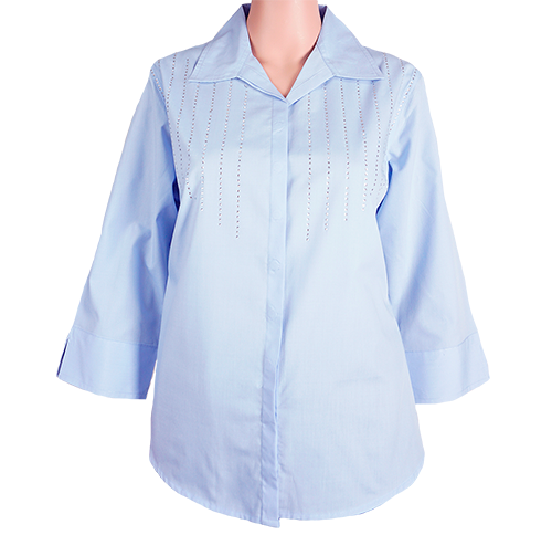SH4003<br>3/4-Sleeve Solid-Woven Hidden-Button Embellished Shirt