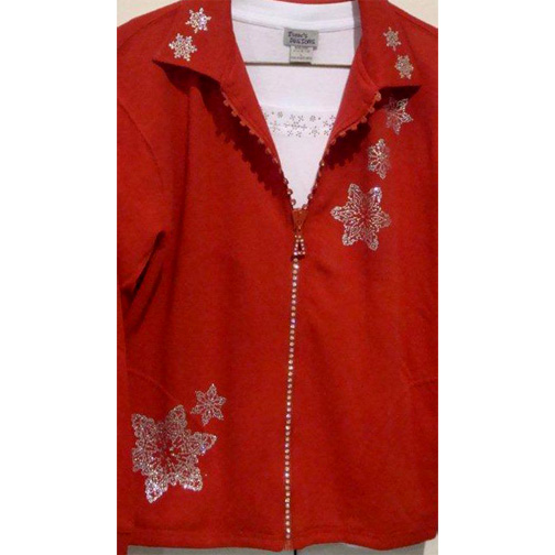 SW1003 RED CRYSTAL ZIPPER CARDIGAN WITH COLLAR WITH K106