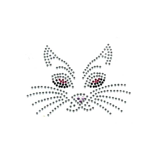 S1206S-SMALL  PINK SILVER   CAT FACE, CATS