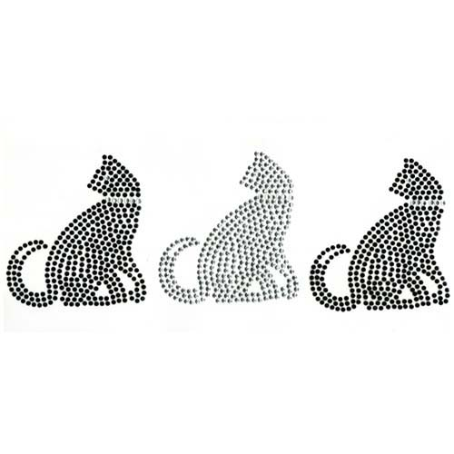 S1968-BLK-SIL<br>2-Black & 1-Silver Cat Trio